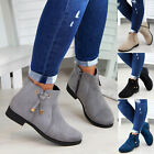 New Womens Ladies Ankle Boots Bow Zip Low Heel Casual Flat Shoes Sizes 3- 8