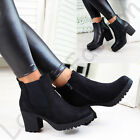 New Womens Chelsea Ankle Boots Chunky Block Heel Grip Sole Comfy Shoes Sizes 3- 8