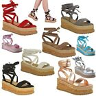 Womens Ladies Lace Up Tie Up Espadrilles Platform Shoes Wedge Sandals Size 3- 8