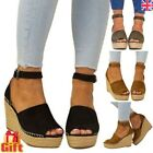 LADIES WEDGE HEEL ESPADRILLES WOMENS SUMMER BEACH SANDALS PEEP TOE SHOES SIZE UK