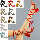 Womens Lace Up Block Mid Heel Ankle Tie Wrap Lace Up Strappy Sandal Shoes