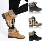 WOMENS LADIES FAUX FUR GRIP SOLE WINTER WARM ANKLE BOOTS TRAINERS SHOES SIZE 3- 8